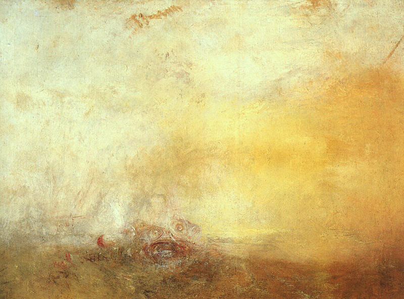 """Turner's """"Sunrise and Sea Monsters"""", condemned by Victoria in the film as a """"filthy yellow mess"""". (Source)"""