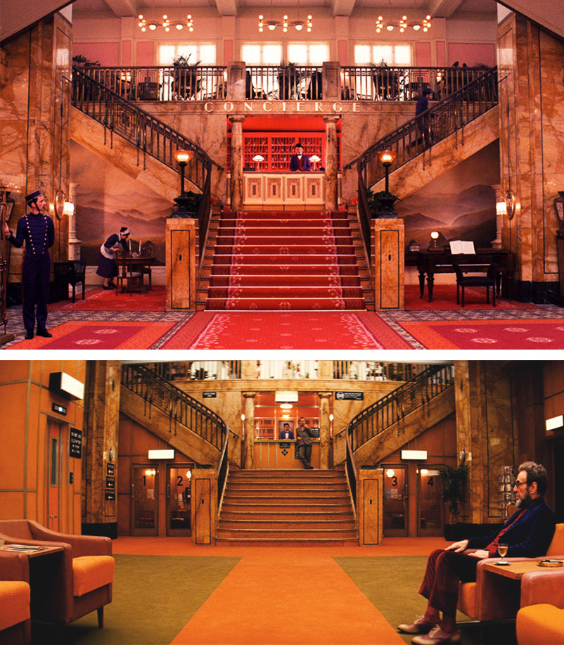 The Grand Budapest in its glory days and its later years. Easily the best production design I've seen in years. (Source)